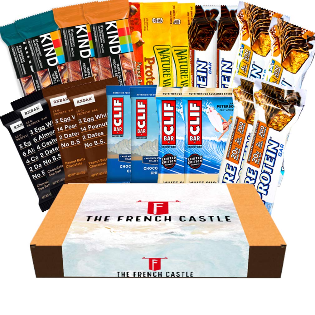 Care package healthy Protein bars variety pack bulk Ultimate Variety of Fitness, Energy and Premier Protein Bars Box Clif, KIND, Pure Protein, Nature Valley, RXBAR 20 Count - Gift Pack.