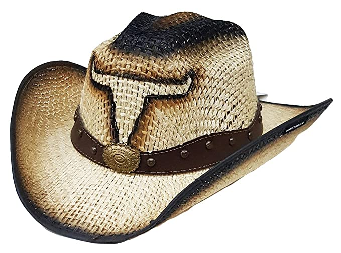 Modestone Jute Cappello Cowboy Bull Head Leather-Like Hatband Beige   Amazon.it  Abbigliamento 6f886b721e52