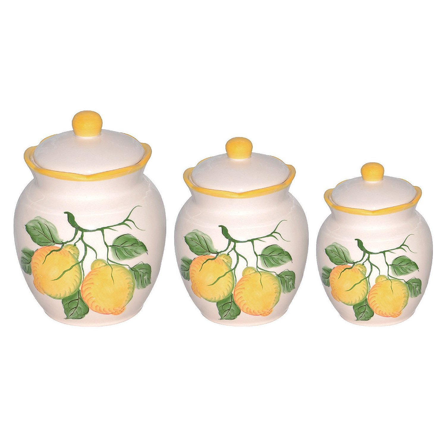 Lorenzo Lemon Design 3 Piece Deluxe Canister Set, Yellow