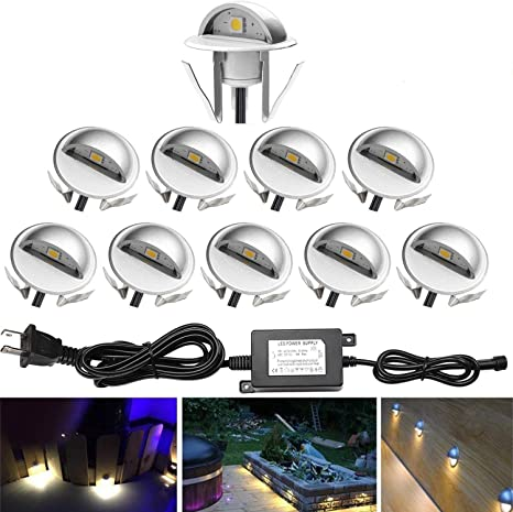 Pack of 10 Low Voltage LED Deck Light Kit /Φ1.38 Waterproof Outdoor Step Stairs Garden Yard Patio Landscape Decor Lights Warm White Lamp FVTLED