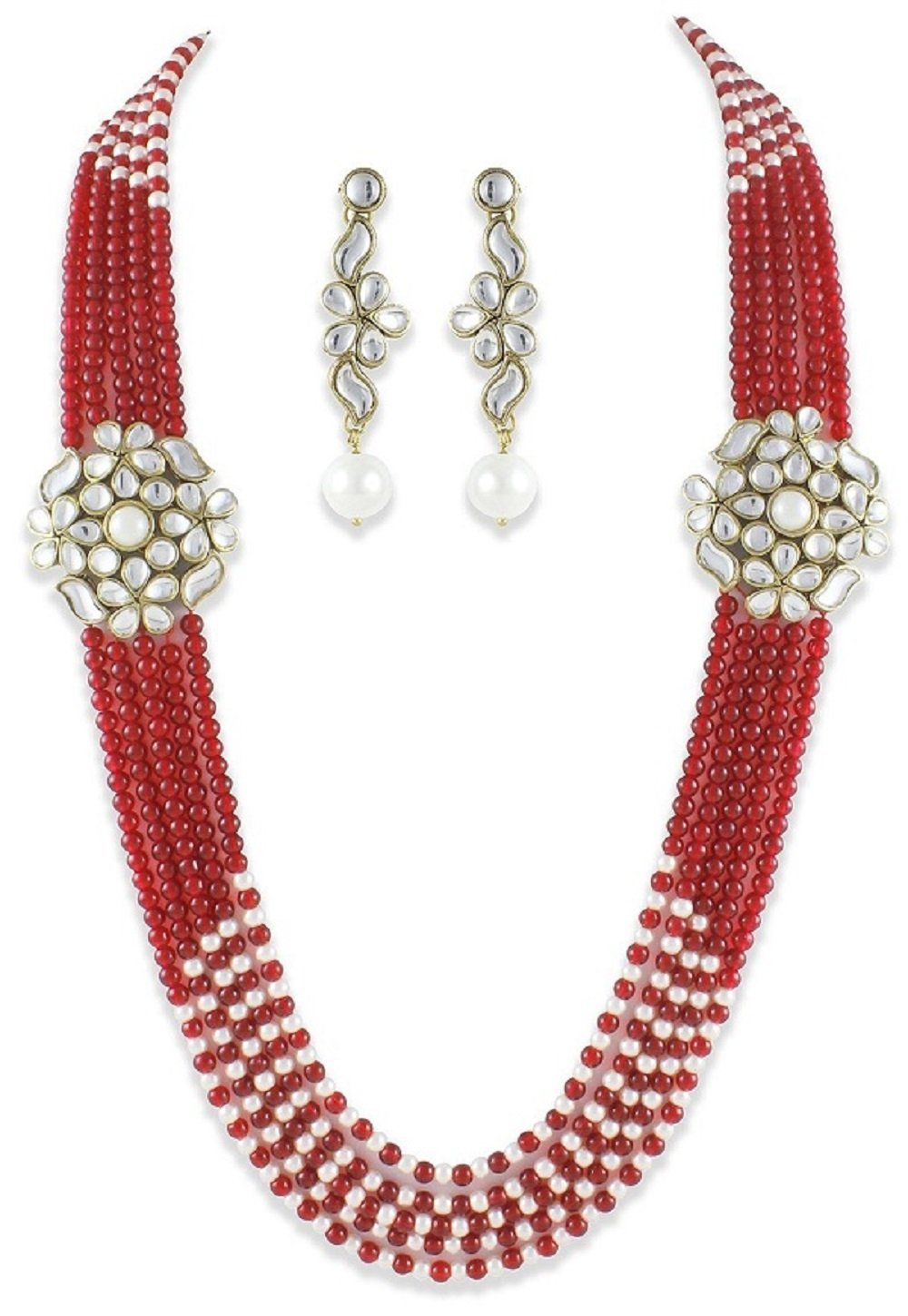 Traditional Bollywood Style Double Kundan Brooch Royal Look 5-Line Ethnic Necklace Set by VVS Jewellers