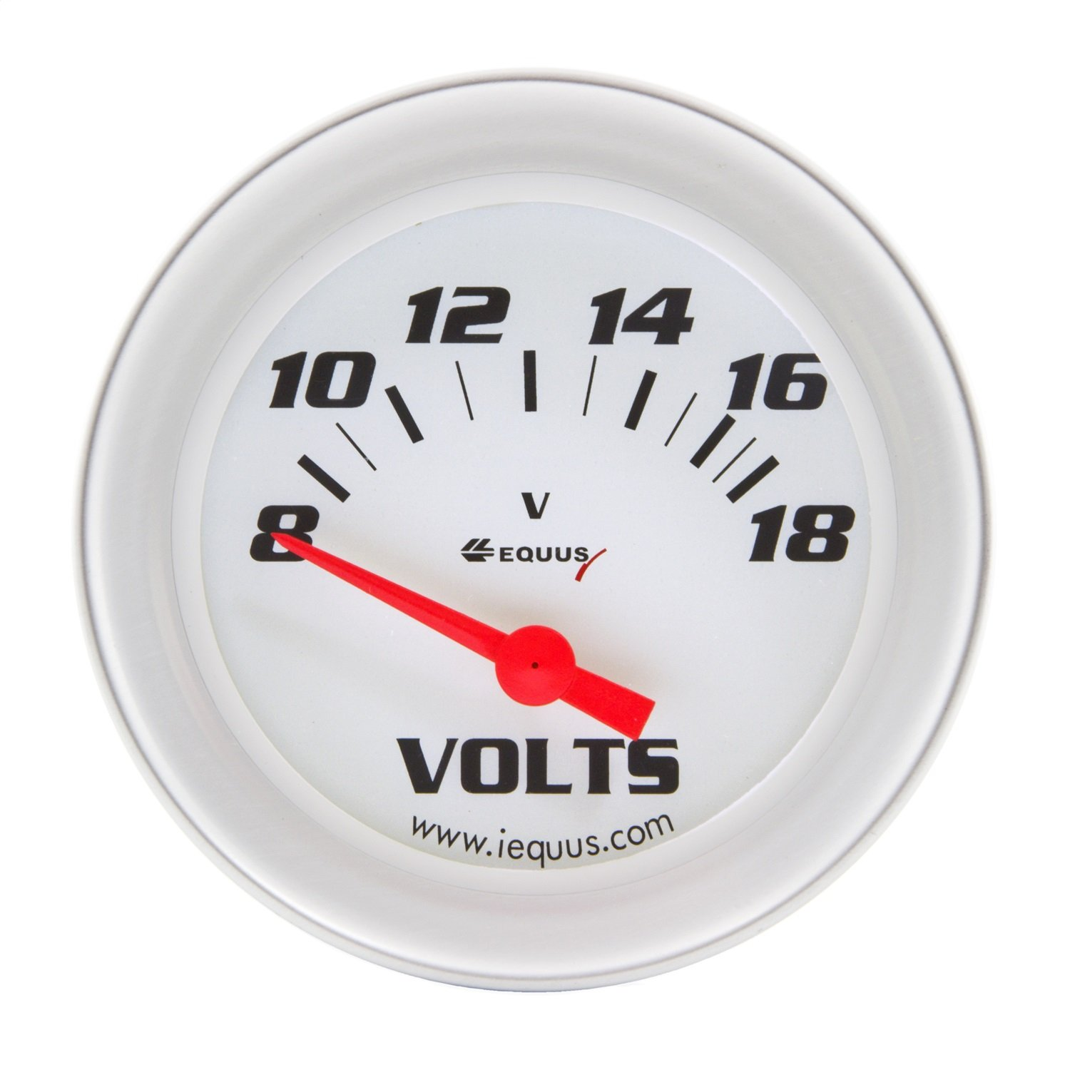 Equus 8268 2'' Voltmeter, White with Aluminum Bezel by Equus