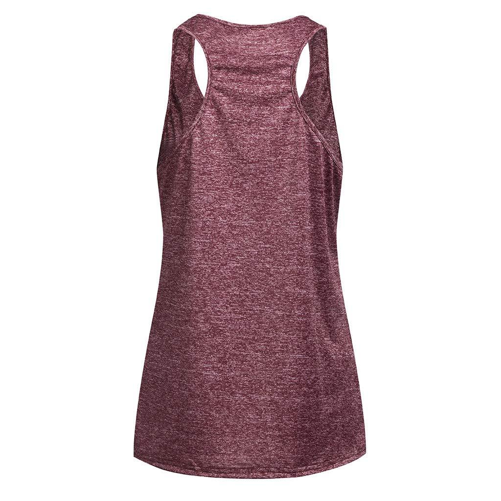 Women Sleeveless Yoga Top Cami Vest Activewear Running Workout Shirt Tunic Off Shoulder Racer Back Tank Red by iLUGU (Image #2)