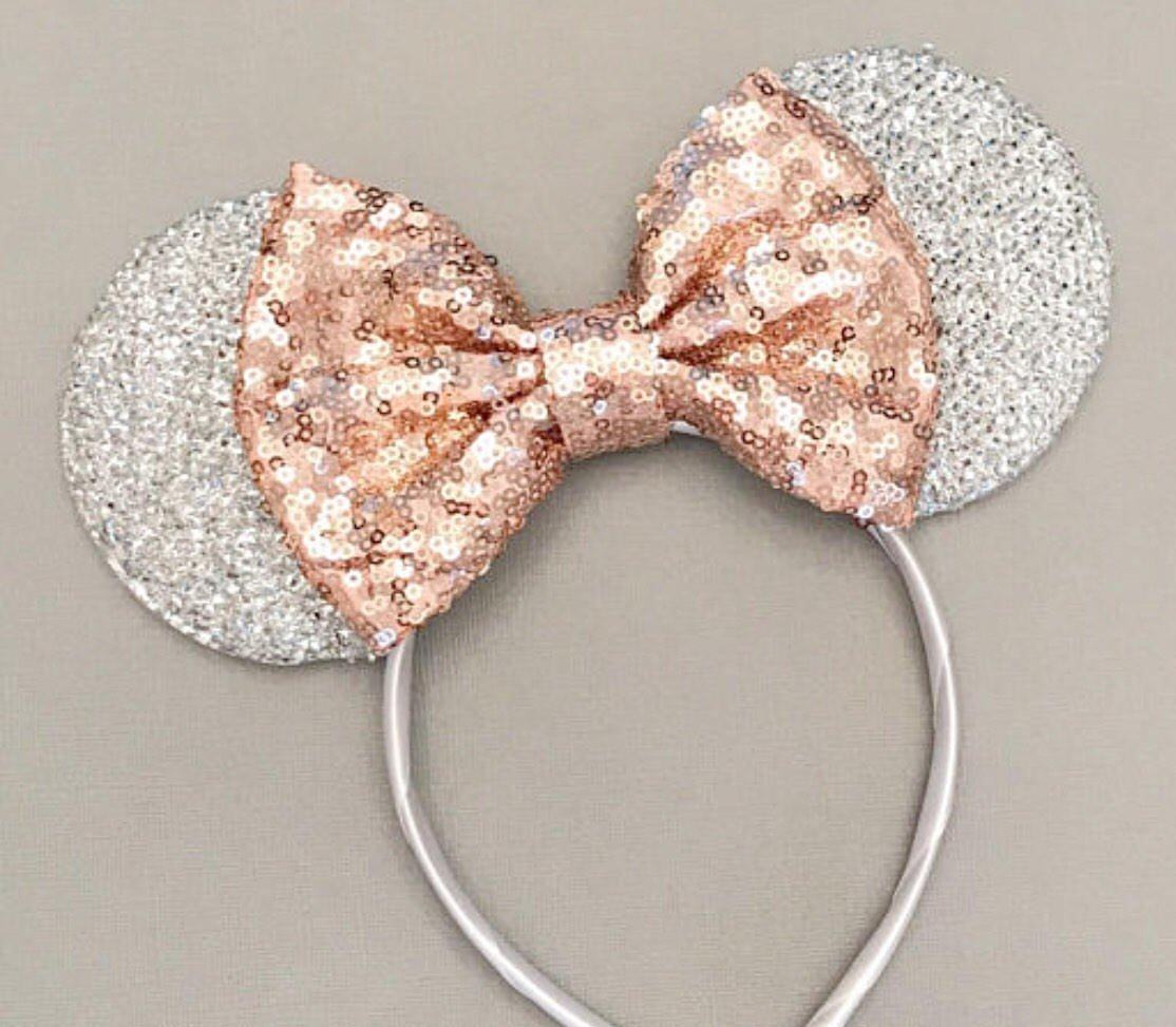CLGIFT Rose Gold Mickey Ears,Silver White Minnie Ears, Rose Gold Minnie Ears, I Do Minnie Wedding,Minnie Bride Mouse Ears