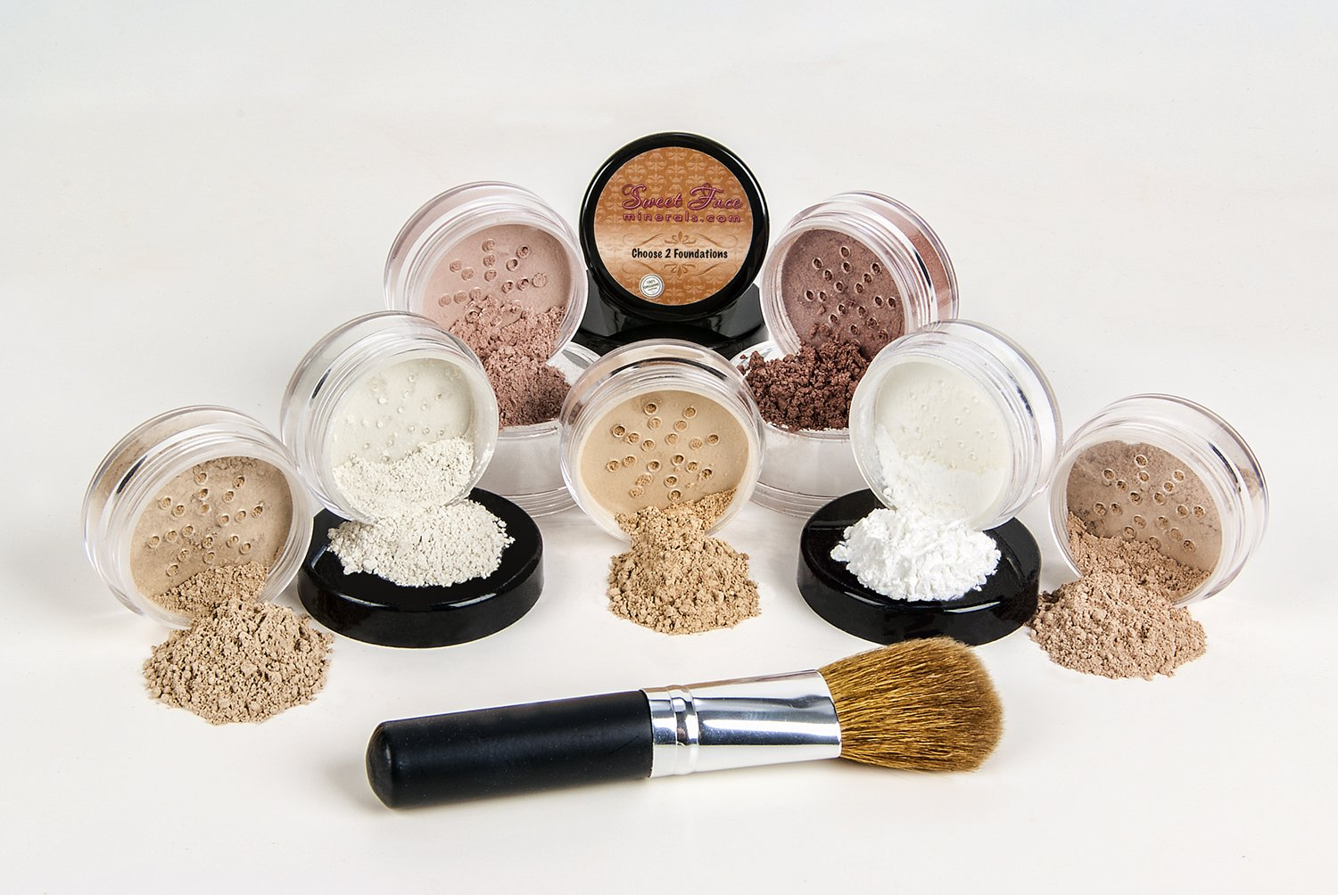 $40 SPECIAL Mineral Makeup Foundation Brush Full Size Set Sheer Bare Skin Cover Kit (Warm (Neutral) & Beige)