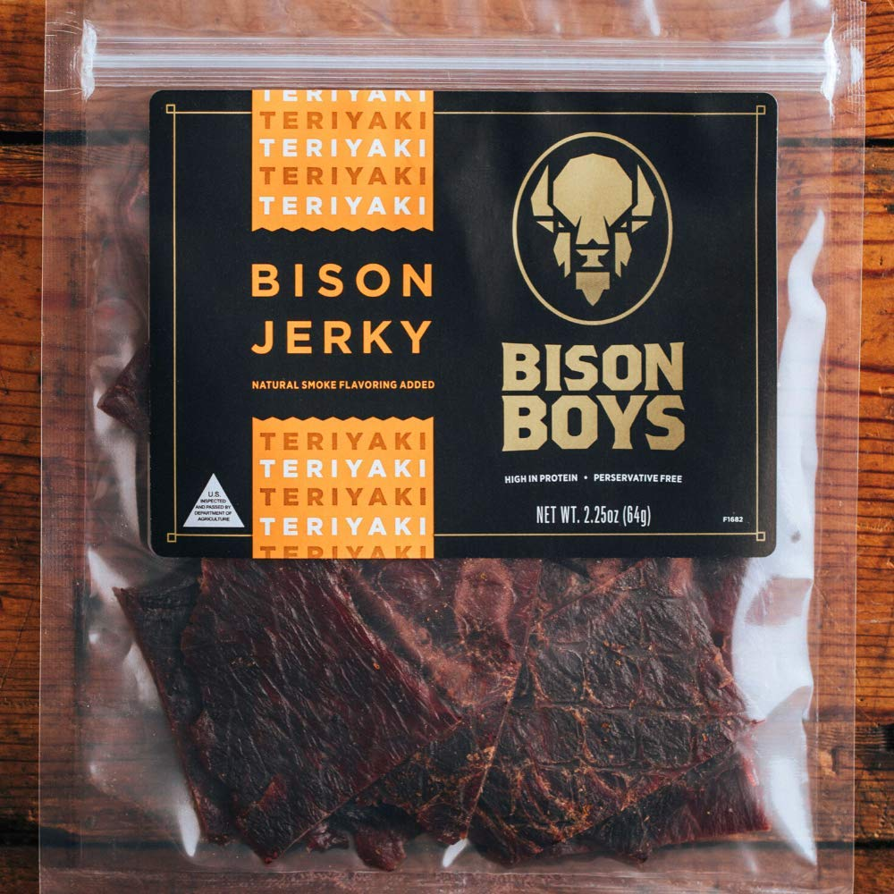 Bison Boys | Buffalo Jerky | Preservative Free Bison Meat | USA Raised | Natural Smoke Flavorings | Protein Packed Low Fat Healthy Snack Food | Original (Teriyaki)