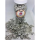 Sprinkles Silver Premium 200 grs,| Presentacion Frasco Transparente de 200grs, Mix Plata con Macaroni Rods