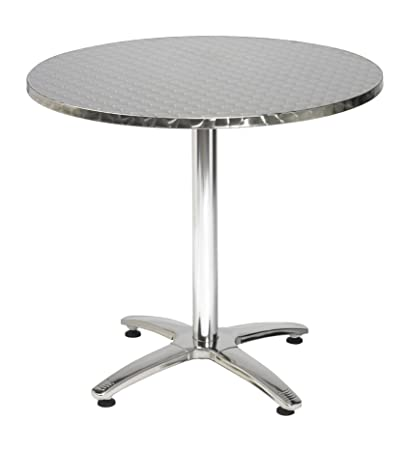 KFI Seating Outdoor/Indoor Round Pedestal Table X Base, Stainless Steel,  Commercial Grade