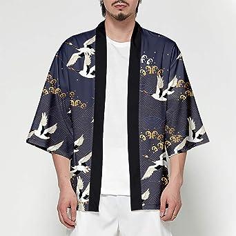 Hombre Camisa Cardigan Kimono Hippie Cloak Playa Chaqueta Estilo Manga 3/4 Japonés Estampado Holgado XL: Amazon.es: Iluminación