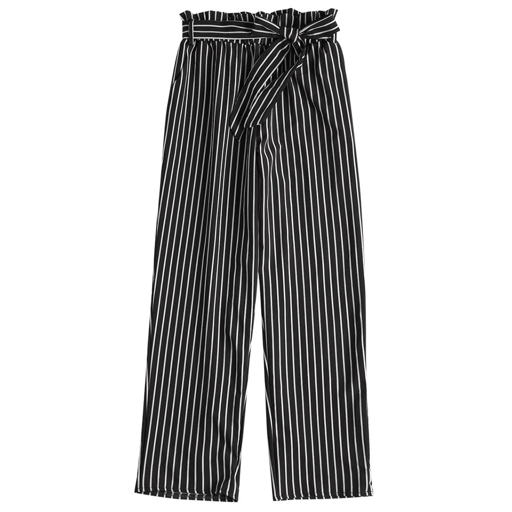 ZAFUL Women Casual Ninth Striped Pants Paper Bag Belted Trousers with Pockets(Black,L)