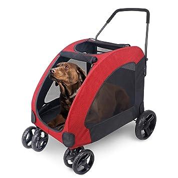 Wooce Pet Carrito de Cuatro Ruedas Trolley para Perros Carritos de Gatos Plegables para Perros Grandes medianos Salientes, Carga Dentro de 60 kg - Rojo: ...