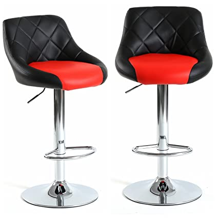 Amazon Com Magshion Mixed Color 2 Tones Bar Stool Chair Dining Counter Bar Pub Set Of 2 Black Red Garden Outdoor