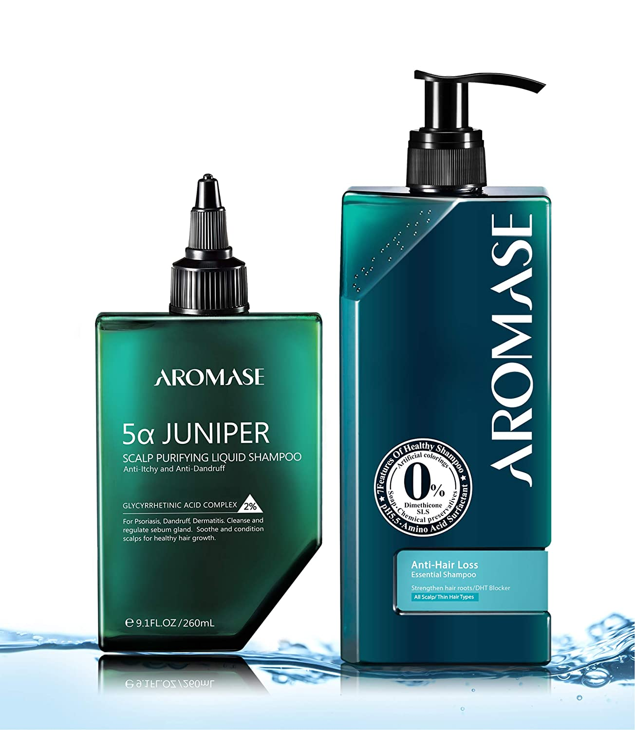 AROMASE Volumizing Essential Shampoo Kit for Thinning Hair with Natural DHT blocker 5α Avocuta, Scalp Deep Cleanser+Scalp Daily Care, Ideal for Oily, Thinning Hair, Men & Women ( 5α Juniper Scalp Purifying Liquid Shampoo 9.1 fl. oz.+ Hair Volumizing Essential Shampoo 14 fl. oz.)