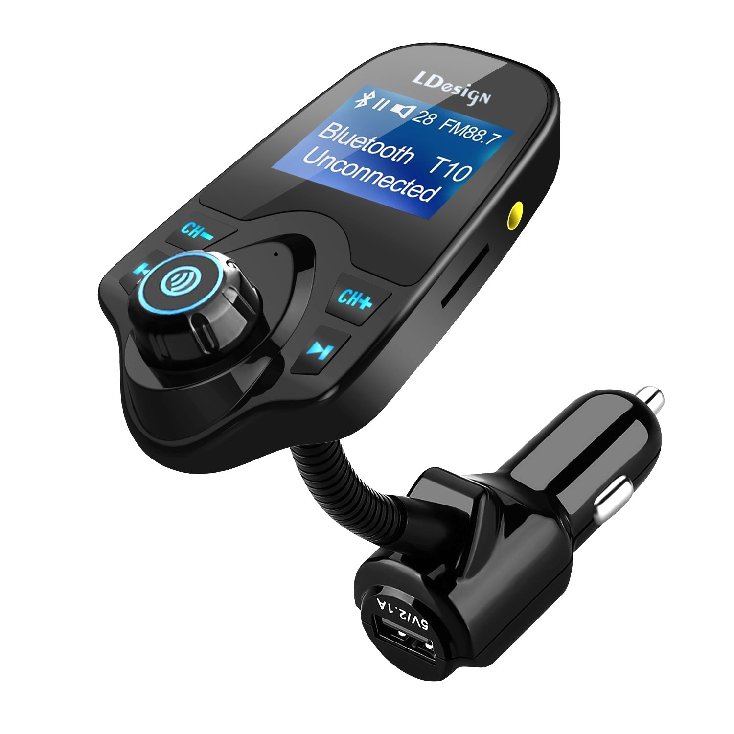 "Bluetooth Car FM Transmitter, LDesign Wireless FM Transmitter Audio Adapter Car Kit with 1.44"" LCD Display, Flexible Gooseneck, Safe Fast USB Charger, Hands-Free Calling, Music Player Support TF Card, USB Flash Drive, AUX Input/Output FMTR0008"
