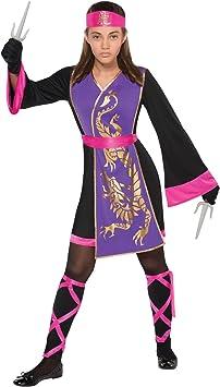 Generique - Disfraz Ninja Rosa y Violeta niña 8-10 años (128-134 cm)