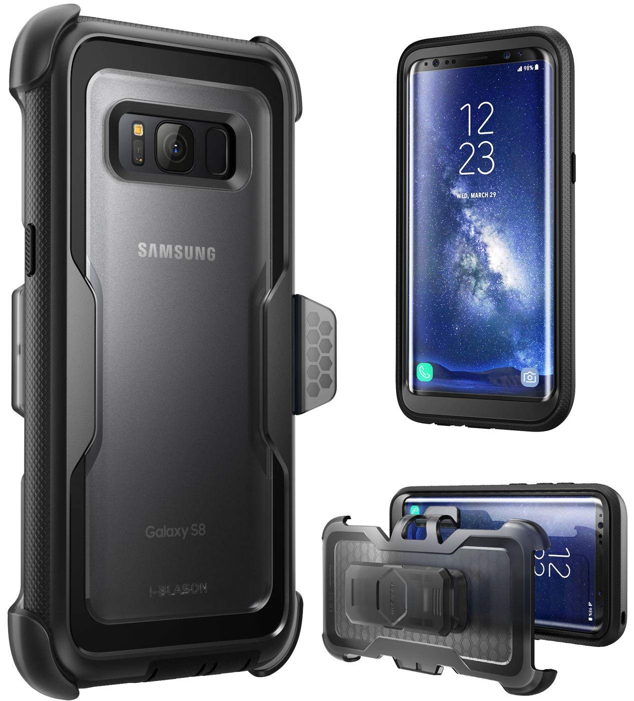 I-Blason Galaxy S8 Case, [Armorbox] [Full Body] [Heavy Duty Protection ] Shock Reduction / Bumper Case Without Screen Protector For Samsung Galaxy S8 2017 Release (Black) (Renewed) by i-Blason