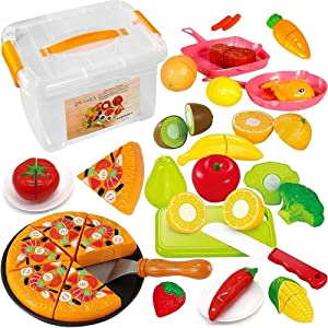FUNERICA Cutting Toy Food Playset for Kids - with Pretend Play Fruits and Vegetables, Cuttable Toy Pizza, Poultry, Mini Pots and Pans Set for Kids and More