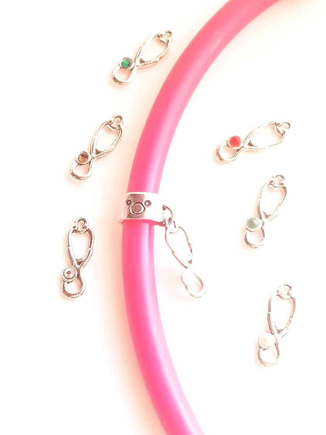 Custom Stethoscope Charm Personalized ID Ring Tri Colored Stethoscope Charms Rose Gold Charms Set of 3 Stethoscope Charm Rings