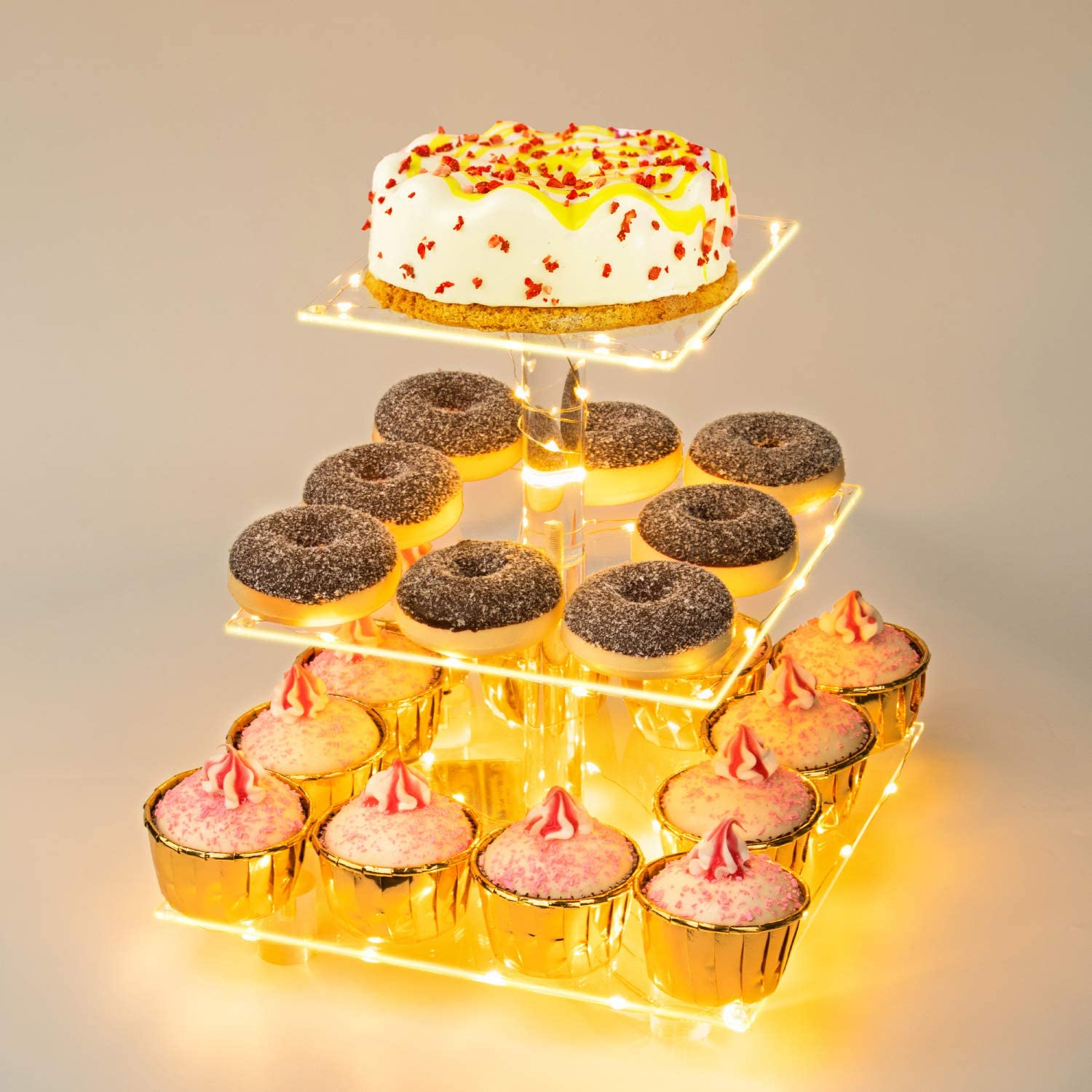Weddingwish 3 Tier Square Acrylic Cupcake Stand-Cake Stand-Dessert Stand-Cupcake holder-Pastry serving platter-Candy Bar Party Décor- Wedding Birthday Holidays,Christmas(Yellow Light)