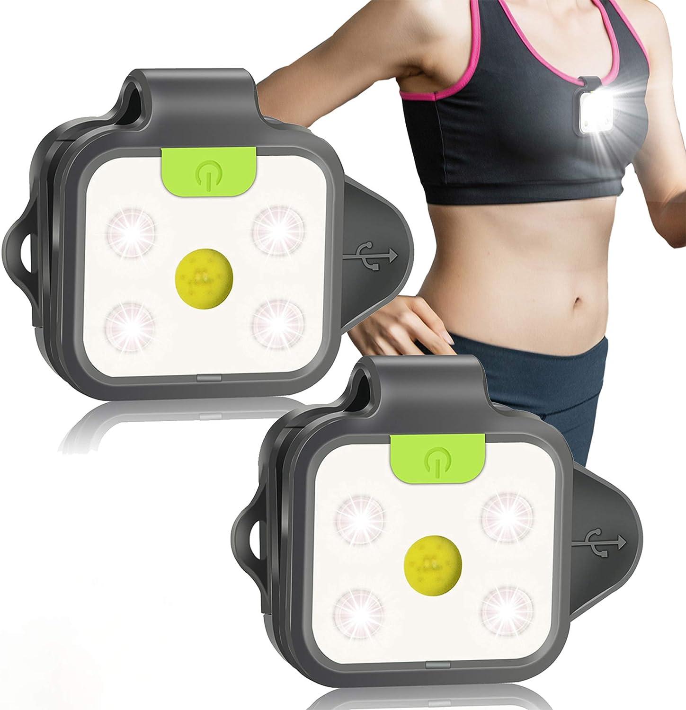 tesyyke Sports Running Safety USB LED Shoes Clip Luminous Light Reflective No-Slip Clips