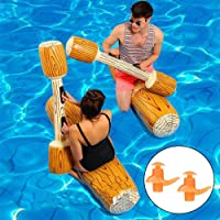 Floating Pool Toy with Swimming Ear Plugs, Hamkaw Inflatable Floating Water Toys for Boys Girls Adults, Pool Party Water Sports Games Log Rafts