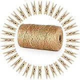 328 Feet juta mollette in legno naturale con 100PCS carta fotografica peg Absofine pin Craft clip per arti Gift floristica fai da te, decorazione da giardino