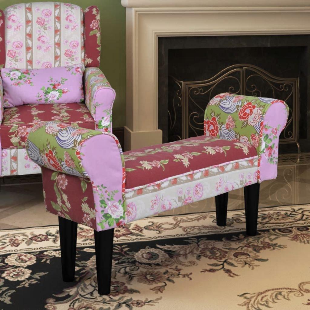 Luckyfu Questo Panchina divanetto patchwork design floreale stile pastorale.Il Ottomane ha design comodo, puo Eliminare la Stanchezza dei Piedi.ottomane.poggiapiedi.