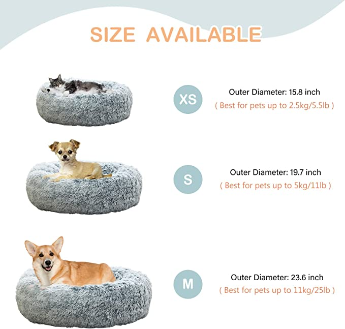 Comfortable Fuzzy Donut Cuddler Cushion for Dogs /& Cats Soft Shaggy and Warm for Winter Uozzi Bedding Plush Faux Fur Round Pet Dog Bed
