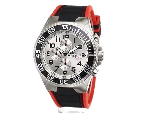 Amazon.com: Invicta Mens 12411 Pro Diver Chronograph Silver Dial Black and Red Polyurethane Watch: Invicta: Watches