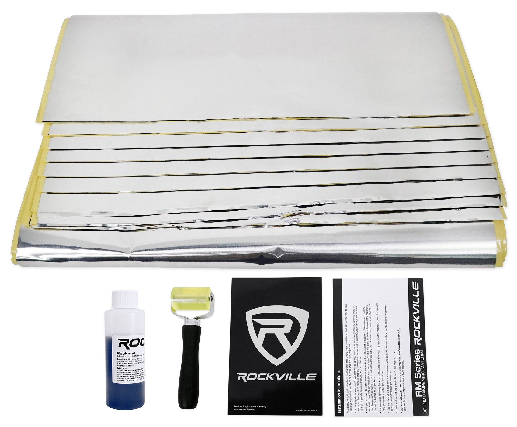Rockville Rockmat RM36 36 Sq Ft Butyl Rubber Sound Dampening/Deadening Car Kit