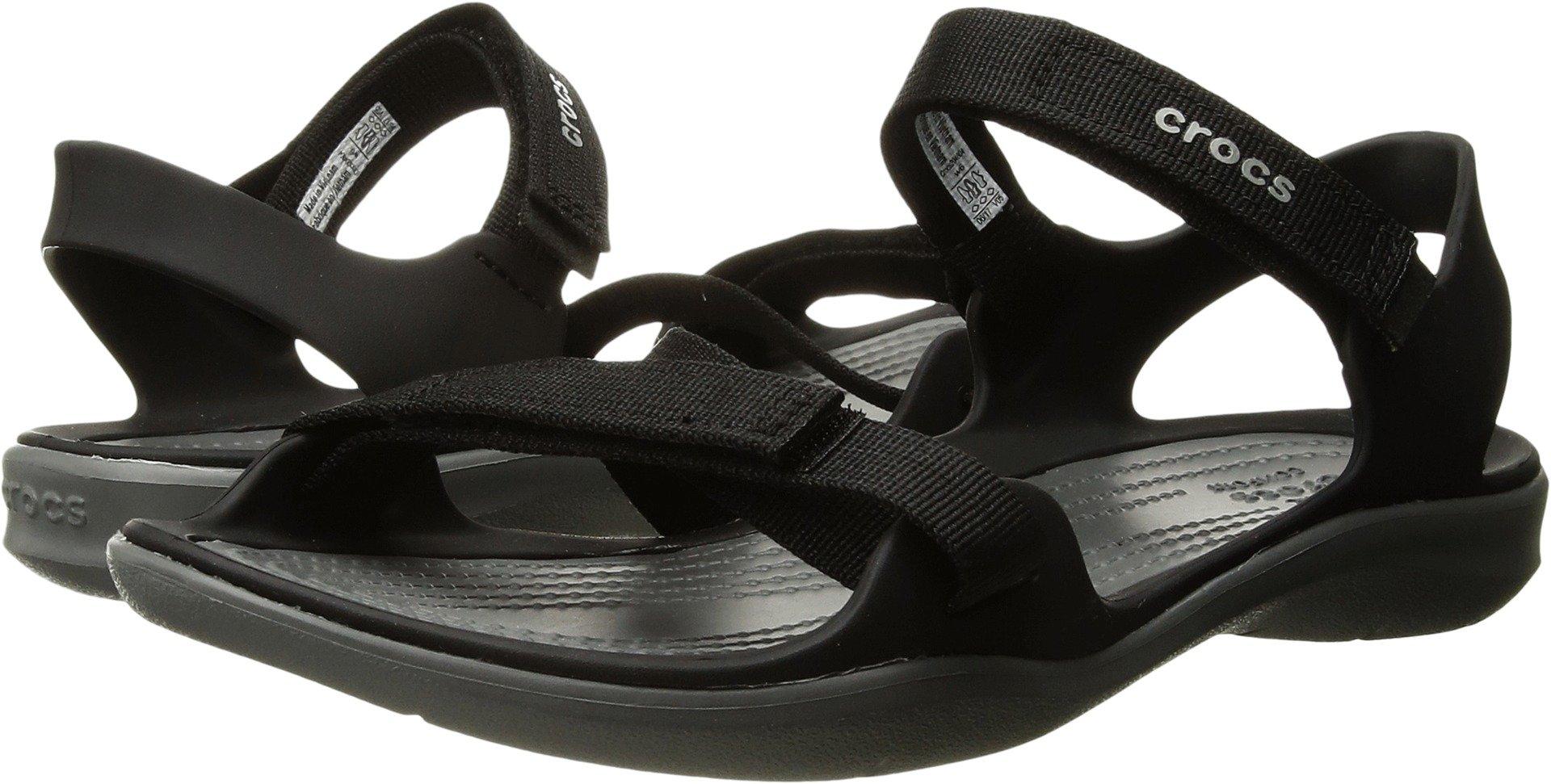 Crocs Women's Swiftwater Webbing W Flat Sandal, Black, 8 M US by Crocs