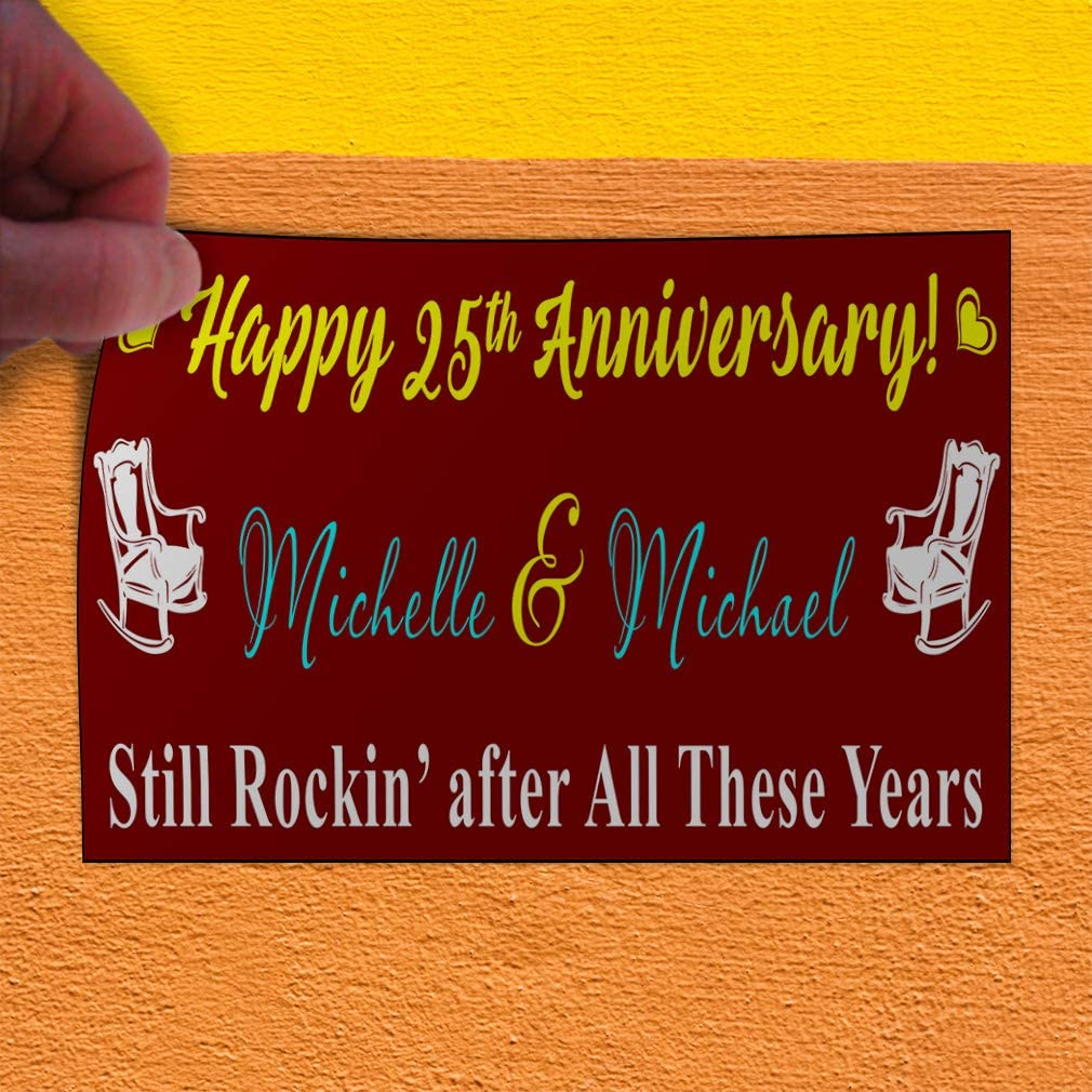 Custom Door Decals Vinyl Stickers Multiple Sizes Happy Anniversary Still Rockin Lifestyle Happy Anniversary Outdoor Luggage /& Bumper Stickers for Cars Brown 24X16Inches Set of 10