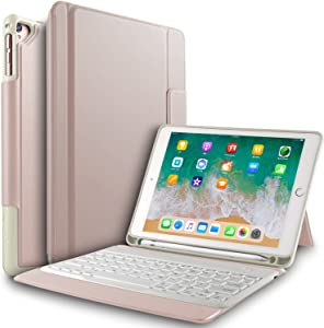 IVSO Keyboard Case for Apple ipad pro 10.5 Tablet - Ultra Lightweight Shockproof One-Piece Wireless Keyboard Stand Case Cover with Pencil Slot for Apple ipad pro 10.5 Tablet (Rosegold)