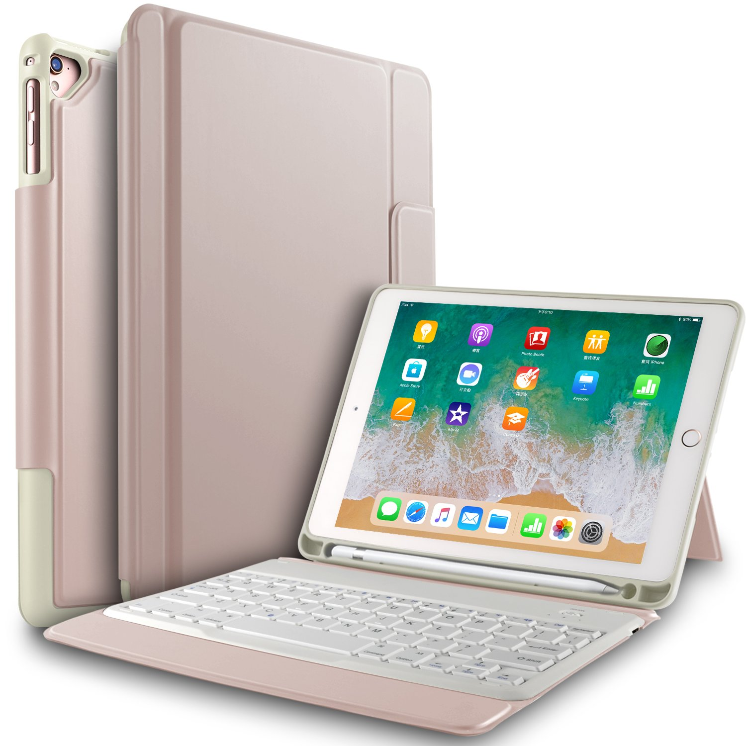 IVSO Apple New iPad 9.7 inch Wireless Keyboard Case, Ultra-Thin Stand Keyboard Case with Pencil Slot for New iPad 9.7 2018/2017/ iPad Pro 9.7 /iPad Air 2/ iPad Air Tablet (Rose Gold)