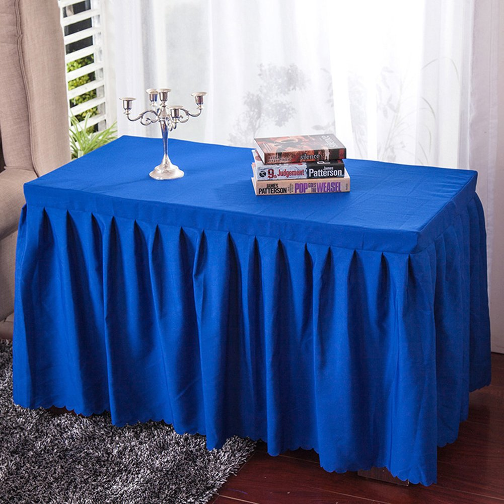 Amyove Rectangle Tablecloth Thicken Plain Table Skirts Household Hotel Restaurant Polyester Table Runner Navy blue; 180 60 75cm
