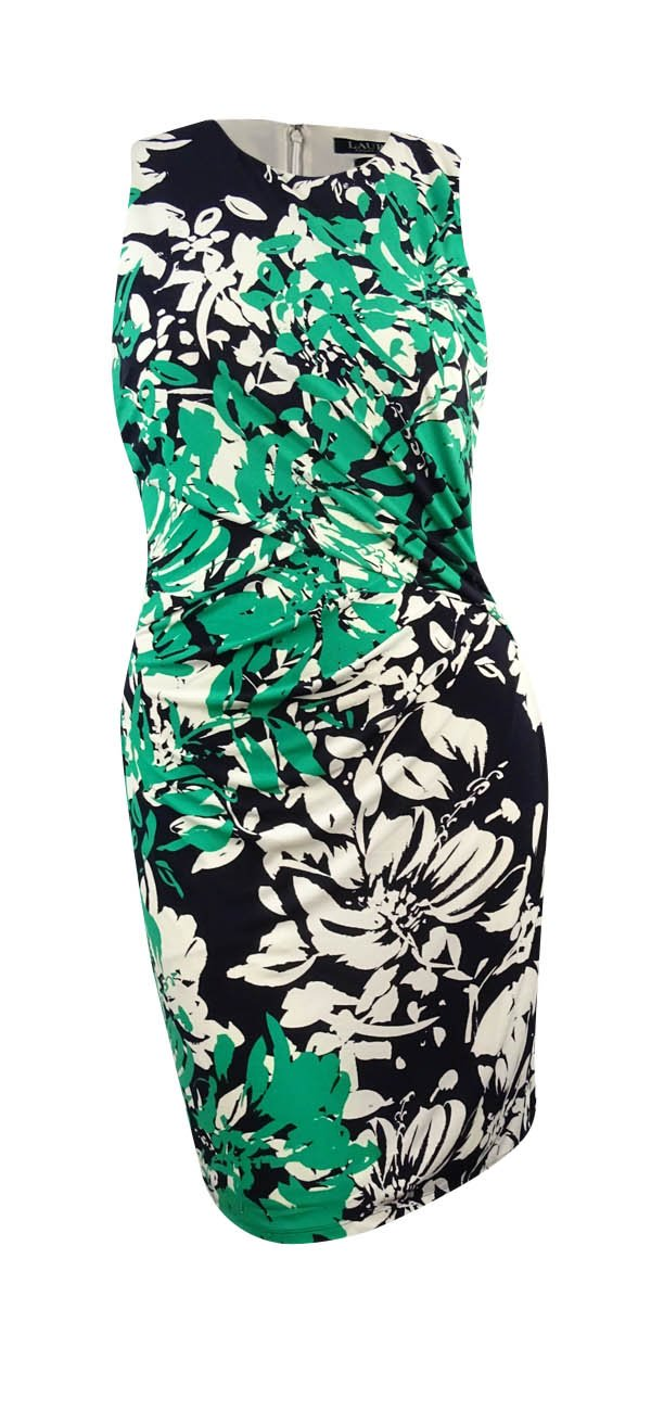 Lauren Ralph Lauren Green Floral Print Jersey Dress 8