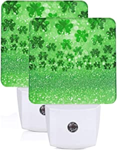 Set of 2 Night Lights, Irish Shamrock Clover Four Leaf Green Glitter Sparkle Water Drop for St Patricks Day Auto Sensor LED Dusk-to-Dawn Night Lamp Plug-in Indoor Home Decorative for Adult
