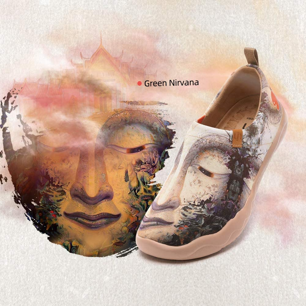 UIN Green Nirvana Damen Bequeme Reiseturnschuhe Mode gemalte Wanderschuhe Slip On Schuhe Canvas Mehrfarbig