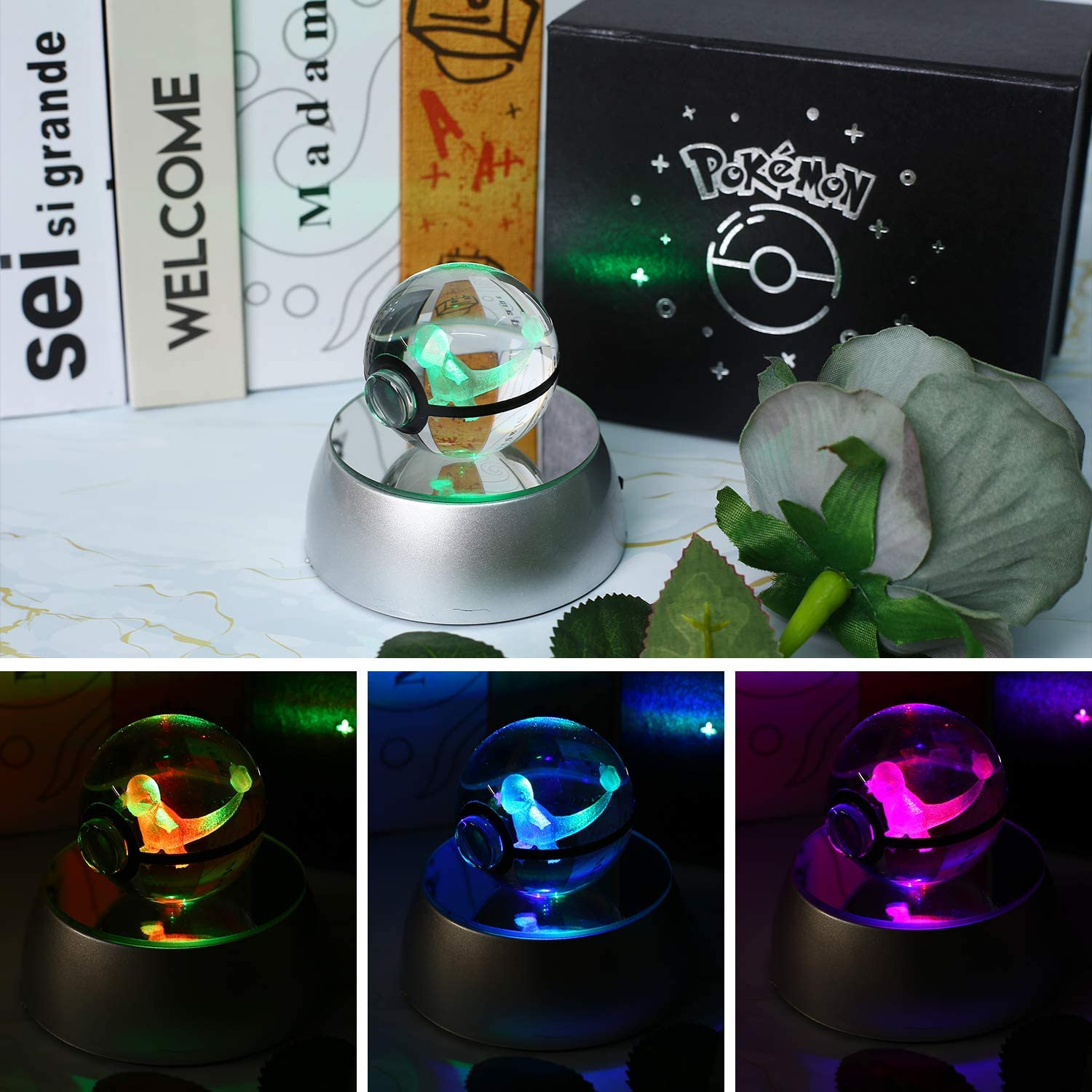 3D Crystal Ball Pokemon Series Laser Etching Crystal Ball LED Night Lights 50mm Ball Automatic Discoloration Base for Childrens Gift Pikachu