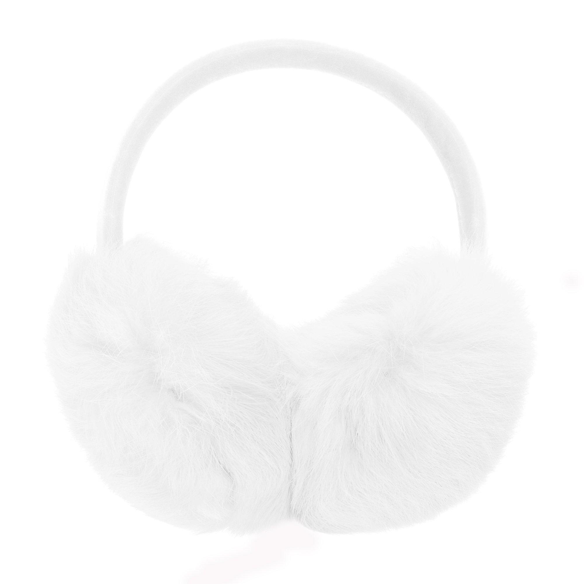 ZLYC Womens Girls Genuine Rabbit Fur EarMuffs Adjustable Ear Warmers, White