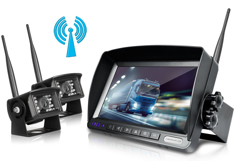 ZEROXCLUB Digital Wireless Backup Camera System Kit No Interference IP69 Waterproof Wireless Rear View Camera 7''Wireless Reversing Monitor for Truck/Semi-Trailer/RV/Box Truck (WX02)