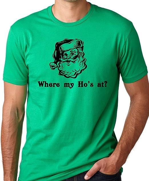 323161b5fe Think Out Loud Apparel Where My Ho's At? Funny Christmas Santa Claus T-shirt  | Amazon.com