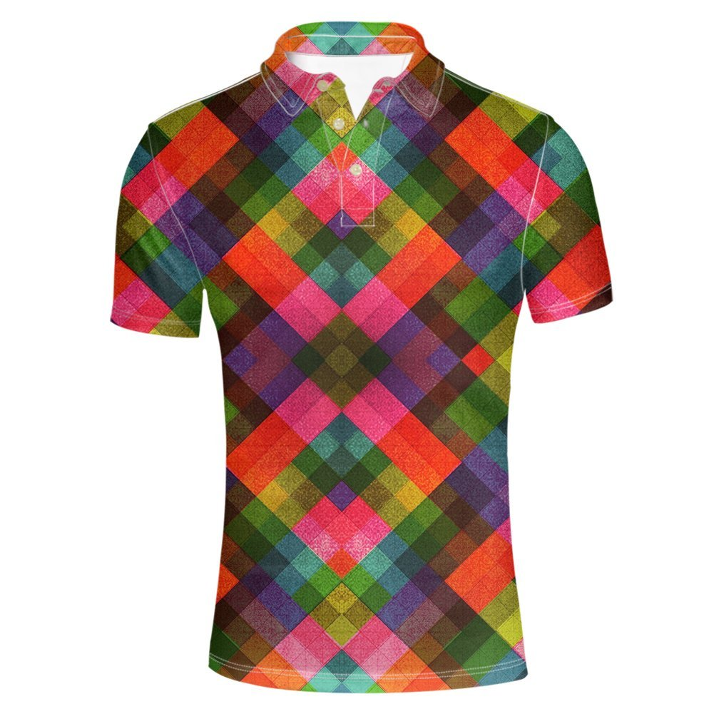 HUGS IDEA Bright Colol Men's Polos Shirt Fashion Short Sleeve Y-C070CS6