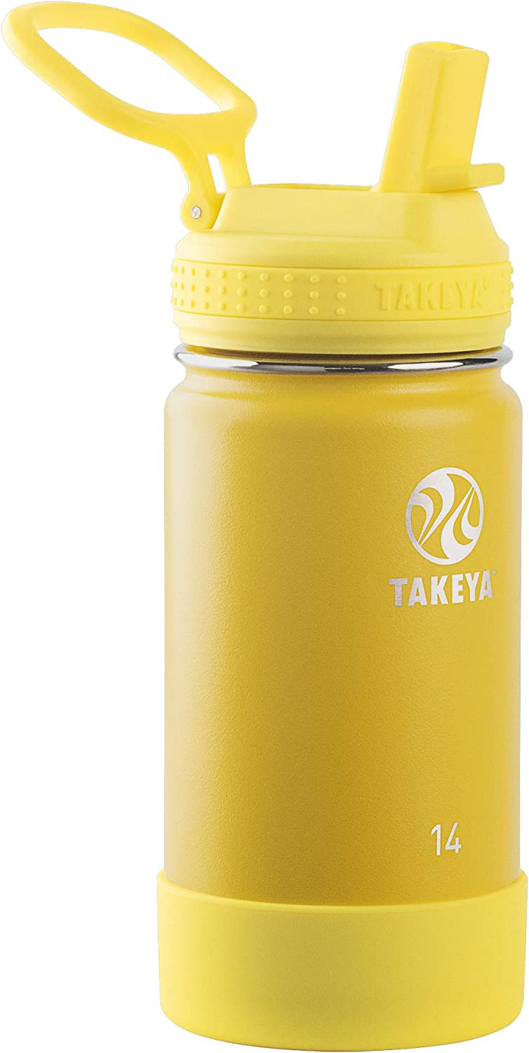 Takeya Kids Insulated Water Bottle w/Straw Lid, 14 Ounces, Sunflower