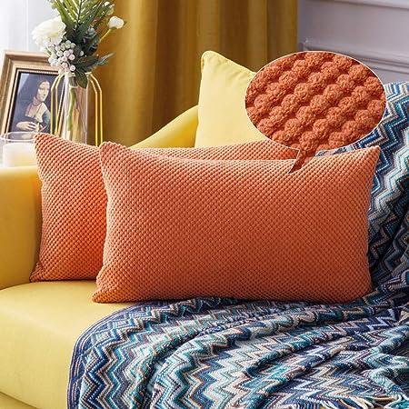 Cuscini Arancioni Per Divano.Miulee Confezione Da 2 Federe Granulari Piccole Per Cuscini Fodere