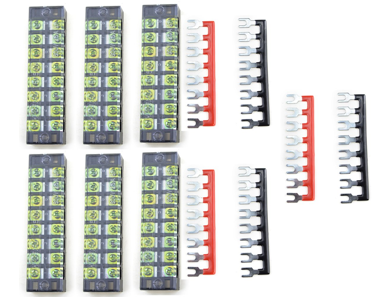 XLX 12pcs 6 Set 600V 25A 8 Positions Double Row Screw Terminal Strip and 400V 25A 8 Positions Red Black Pre Insulated Terminal Barrier Strip