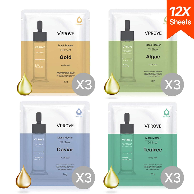 Hydrating Gold Sheet Mask, Collagen Facial Treatment (Gold / Caviar / Tea Tree / Algae) 12 Sheets