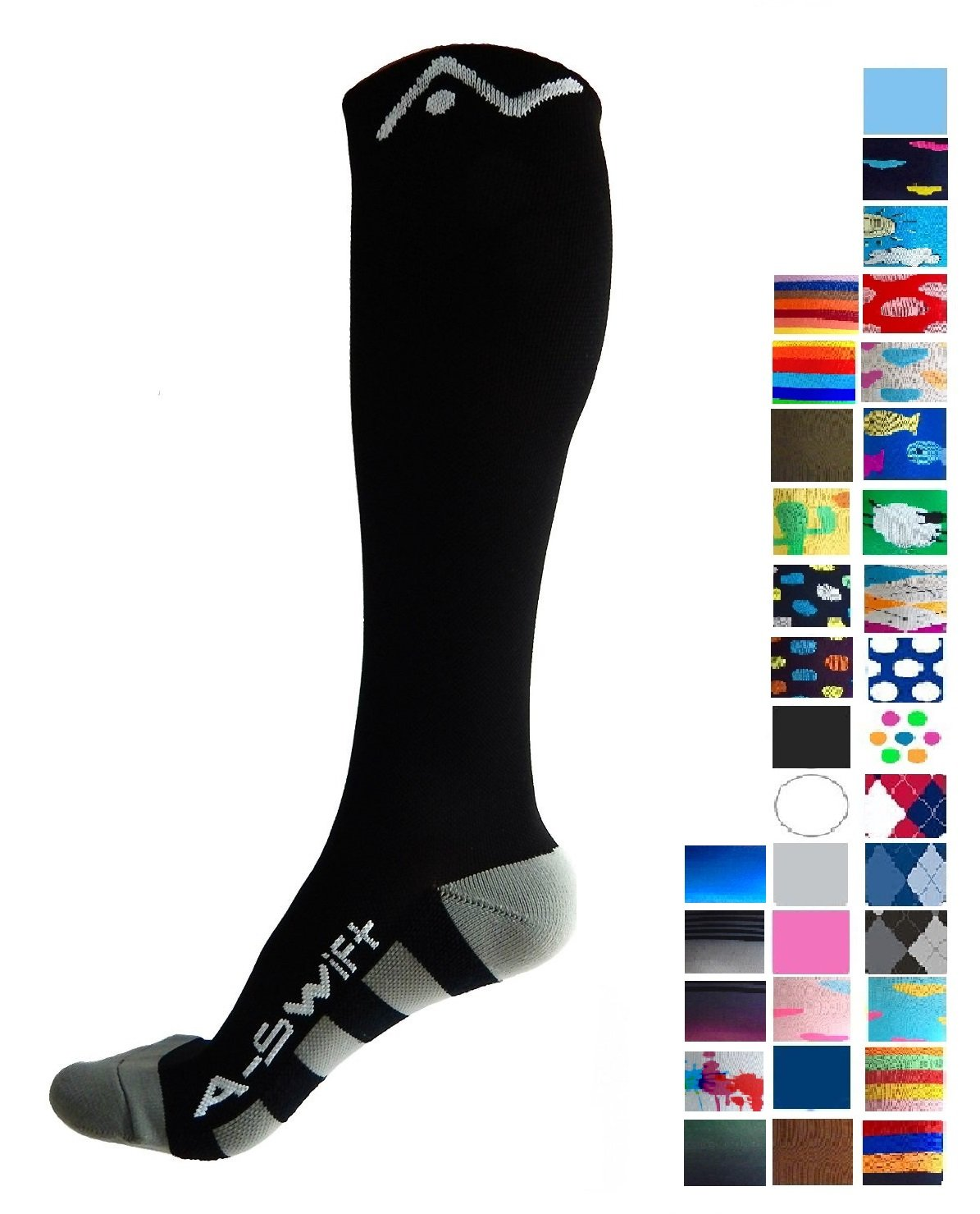 A-Swift Compression Socks for Women and Men - Black, Large