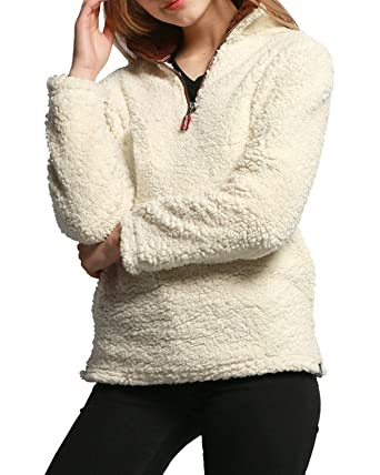 Farktop Women's Casual Solid Color 1/4 Zipper Collar Fleece ...