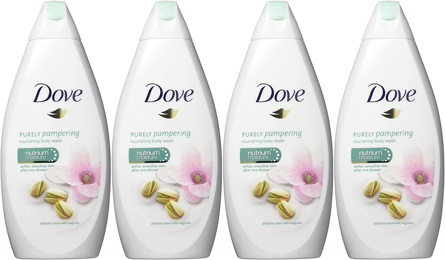 Dove Purely Pampering Body Wash, Pistachio Cream with Magnolia, 16.9 Ounce / 500 Ml (Pack of 4) International Version